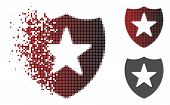 Guard Shield Icon In Sparkle, Dotted Halftone And Undamaged Whole Versions. Pixels Are Grouped Into  poster