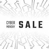 Cyber Monday Sale Technology Banner. Cyber Monday Promotion On Abstract Circuit Backgroun. Vector Il poster
