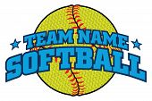 Textured Softball Team Design Is An Illustration Of A Softball Design With A Space For Your Team Nam poster