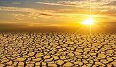 Arid Clay Soil Sun Desert Global Worming Concept Cracked Scorched Earth Soil Drought Desert Landscap poster