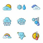 Wet Weather Icons Set. Cartoon Set Of 9 Wet Weather Vector Icons For Web Isolated On White Backgroun poster
