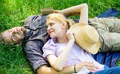Guy And Girl Dreamy Relaxed Enjoy Tranquility Nature. Couple In Love Relaxing Outdoors. Man Unshaven poster