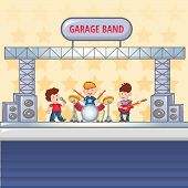 Garage Rock Band Concept Background. Cartoon Illustration Of Garage Rock Band Vector Concept Backgro poster