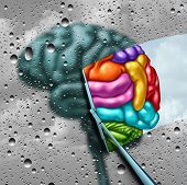 Brain Creativity As A Gray Blurry Brain With Drops On A Window As A Wiper Cleans The Confusion To A  poster