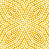 Orange Geometric Watercolor. Delicate Seamless Pattern. Hand Drawn Stripes. Brush Texture. Elegant C poster