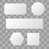 White Blank Button. Round Square Buttons. 3d Vector Buttons poster