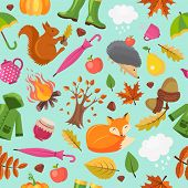 Autumn Animals Pattern. Forest Fall Cute Fox Hedgehog And Orange Squirrel In Yellow Leaves Vector Au poster