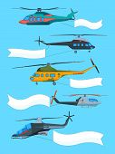 Flying Helicopters With Banners. Advertizing Banners On Avia Transport. Advertisement Message Poster poster