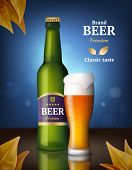 Beer Alcohol Poster. Drink Bottles And Glasses Beer Advertizing Background Of Beverages Retail Vecto poster
