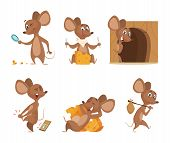 Mouse Character. Funny Cartoon Mice. Vector Clipart Isolated On White. Illustration Of Mouse Mascot, poster