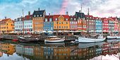 Nyhavn At Sunrise, With Colorful Facades Of Old Houses And Old Ships In The Old Town Of Copenhagen,  poster
