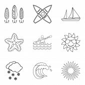 Water Vital Icons Set. Outline Set Of 9 Water Vital Icons For Web Isolated On White Background poster