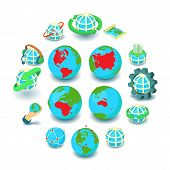 Globalization Icons Set. Cartoon Illustration Of 16 Globalization Icons For Web poster