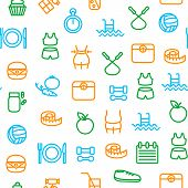 Slimming Signs Thin Line Icon Seamless Pattern Background. Vector poster