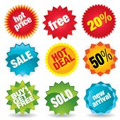 Set of colorful vector sale stickers and labels.