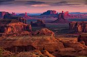 Sunrise In Hunts Mesa Navajo Tribal Majesty Place Near Monument Valley, Arizona, Usa poster
