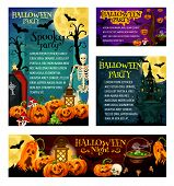 Halloween Holiday Night Party Invitation Banner And Greeting Card Template. Halloween Pumpkin Lanter poster