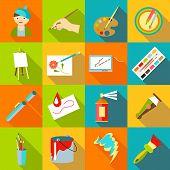 Painter Artist Tools Set. Flat Illustration Of 16 Painter Artist Tools Icons For Web poster