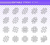 Hashtag Thin Line Icons Set. Outline Web Sign Kit Of Social Media. Hash Tag Linear Icon Collection P poster