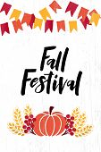 Fall Festival - Hand Drawn Lettering Phrase With Autumn Harvest Symbols. Harvest Fest Poster Design. poster