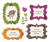 foto of thank you card  - Vector set of vintage cute frames - JPG