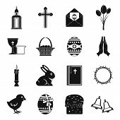 Easter Items Icons Set. Simple Illustration Of 16 Easter Items Icons For Web poster