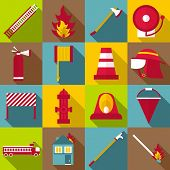 Fireman Items Icons Set. Flat Illustration Of 16 Fireman Items Icons For Web poster