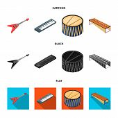 Musical Instrument Cartoon, Black, Flat Icons In Set Collection For Design. String And Wind Instrume poster
