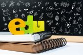 Classic School Background With Wooden Word Edu And Doodle Draw Icon For Education. Education School  poster