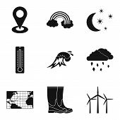 Atmospheric Icons Set. Simple Set Of 9 Atmospheric Icons For Web Isolated On White Background poster