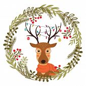 Christmas Wreath With Deer. Cute Cartoon Deer With Christmas Toys, Garlands On The Horns And Scarf.  poster