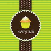 stock photo of food label  - cupcake invitation background 07 - JPG