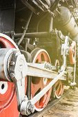 Red Wheel And Detail Of Mechanism A Vintage Russian Steam Train Locomotive. Valve Gear, Main Rod, Pi poster