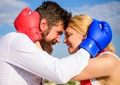 Fight For Your Happiness. Couple In Love Boxing Gloves Hug Blue Sky Background. Man Beard And Girl C poster