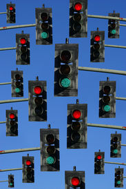 picture of traffic signal  - collection of red and green traffic signal lights - JPG