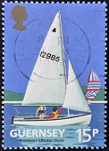 GUERNSEY - CIRCA 1992: A stamp printd in Guernsey shows a sailboat circa 1992