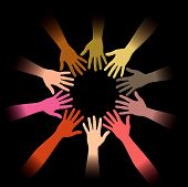 stock photo of peer-pressure  - A diverse circle of hands background in vector format - JPG