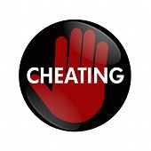 image of cheating  - A black and red button with word Cheating and hand symbol isolated on white Stop Cheating - JPG