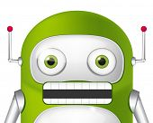 Cartoon Character Cute Robot. Angry Avatar. Vector EPS 10.
