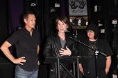 LOS ANGELES - MAY 7:  Mike Malinin, John Rzeznik, Robby Takac at the Goo Goo Dolls RockWalk Inductio
