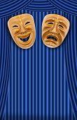 Постер, плакат: Комедии и трагедии театральные маски на занавес