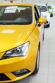 Постер, плакат: Новый желтый белый и зеленый блестящие автомобили стоят в Канцелярии автомагазин
