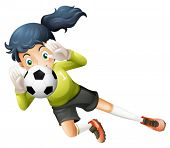 Illustration of a girl catching the soccer ball on a white background
