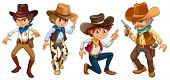Illustration of the four cowboys on a white background