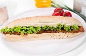 Long sandwich made from integral bred with tofu cheese and vegetable on plate