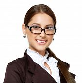 portrait of attractive smiling business woman with glasses, isolated on white, studio