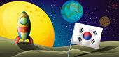 foto of outerspace  - Illustration of a spaceship near the Korean flag at the outerspace - JPG