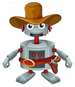 Illustration of a robot with a hat and a cigar on a white background
