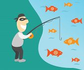 stock photo of antivirus  - Conceptual vector illustration of internet phishing with fisherman and emails - JPG