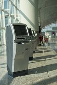 HONG KONG, CHINA - OCTOBER 06: check-in kiosks in Hong Kong International Airport on October 06, 201